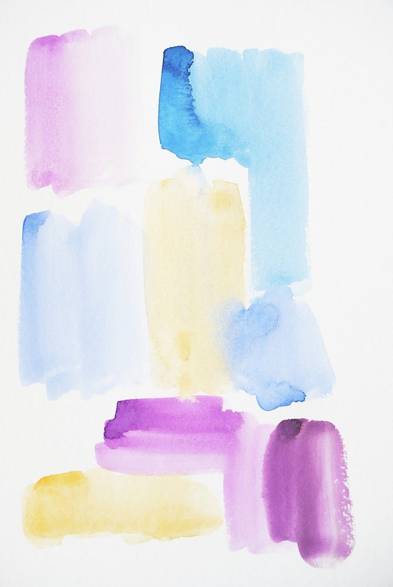 graphic watercolor in blue, violet and gold