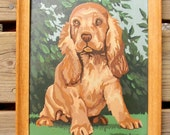 ADORABLE PAINT BY NUMBER PAINTING, PUPPY, VINTAGE, NICELY DONE COLLECTIBLE