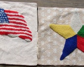 Pair PILLOW COVERS, hooked yarn, flag, star, vintage fabrics