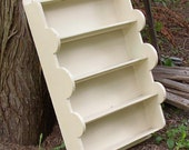 reduced price....Vintage COTTAGE SHELF, wood, white paint, Unique Shape, home made, Shabby Chic