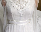 new price..was 125..GUNNESAX BRIDAL DRESS, white gown, 1970 s, romantic, lacey, vintage beauty, hippie chic