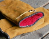 VINTAGE SUEDE MITTENS, utility mitts, mens wear, red interior, usa made, Leather