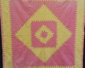 ANTIQUE SAWTOOTH QUILT, sherbet pink, lemon, hand sewn, Diamond in a Square, crisp, 80 x 76