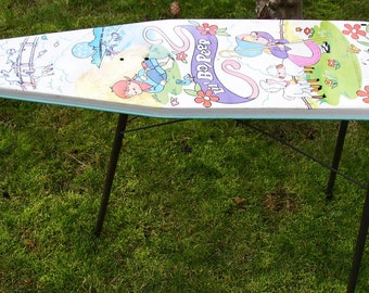 CUTE METAL CHILDS IRONING BOARD....BO PEEP, TURQUOISE, RETRO, MID 1900 S,