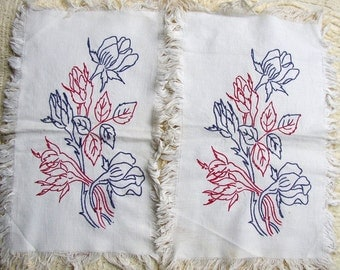 VINTAGE REDWORK, BLUEWORK CLOTH NAPKINS, ROSES, HAND EMBROIDERED, PRETTY