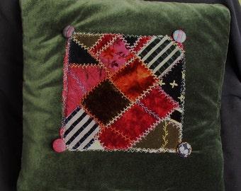 Vintage CRAZY QUILT PILLOW, Velvet, Hand Stitching, buttons, antique fabric