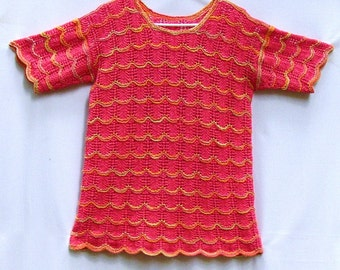 CUTE VINTAGE HAND KNIT SWEATER, TOP, GREAT TROPICAL COLORS, NICE STYLE