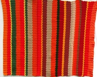 VINTAGE AFGHAN, Colorful, Warm, Hand Crocheted
