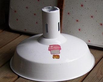 Vintage INDUSTRIAL LAMPSHADE, white enamel, large, retro, awesome piece, Porcelain,