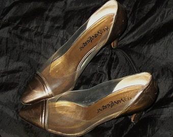 Vintage ITALIAN SHOES, Designer YvesSaintLaurent, leather, plastic, 7 M