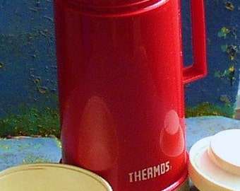 Cool Vintage RED THERMOS JUG, Canadian, plastic, retro, beverage container