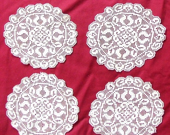 Vintage LACE DOILIES, COASTERS, crochet, set of 8, delicate, assembledge
