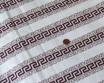 Vintage GREEK KEY FABRIC, 1880 s, brown/white, crisp, rare, collectible, assembledge, mixed media, supply, quilting