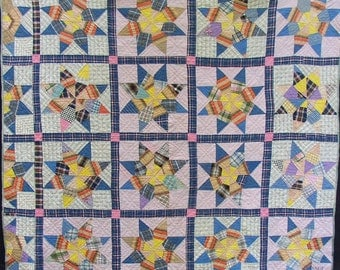 Yummy VINTAGE STAR QUILT, signed Millie, great colors, pattern, condition, Happy Quilt