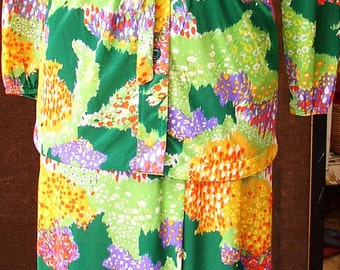 Vintage 70 s RETRO SHERBET OUTFIT, nylon floral wrap long skirt, tie top, yummy colors