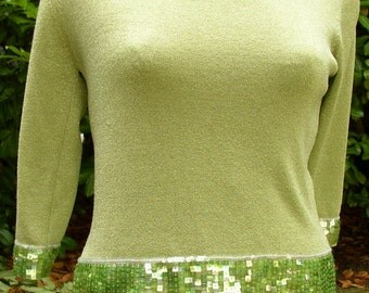 SPARKLY HOLIDAY TOP, blouse, green, sequins, Vintage, party style