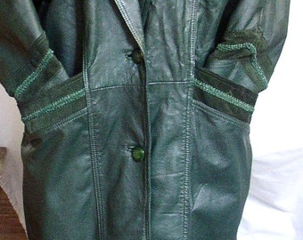 LONG LEATHER COAT, Vintage 1980 s, green, classic, retro, outer wear, duster