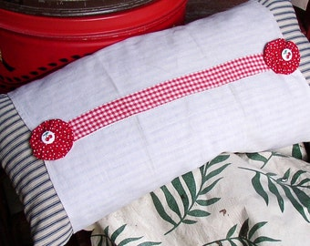 HANDMADE PILLOW, VINTAGE Ticking, feathers, cherry buttons, country, cottage, decor, primitive