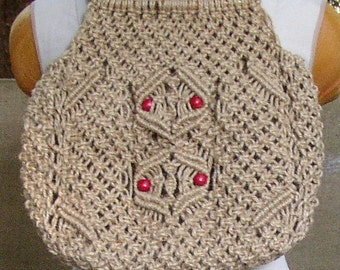 Vintage MACRAME PURSE, BAG, hippie, boho, hand made, red beads, very cool