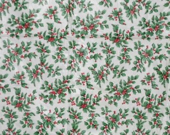 Vintage HOLIDAY TABLECLOTH, HOLLY, Berries, red, green, white, vinyl, very pretty