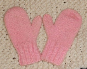 VINTAGE CHILDS MITTENS, pastel, Pink, hand knit, ooak, very sweet...and warm