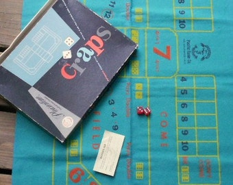 Vintage CRAPS CASINO GAME, felt layout, dice, fun retro, mid century, Pacific Game Co, No. Hollywood Calif