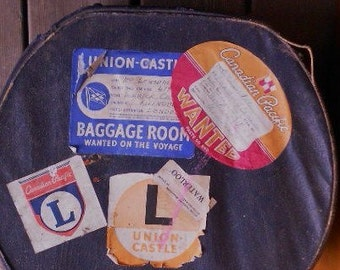 VINTAGE LABELED LUGGAGE, antique carry on, hat box, suitcase, steamship lines, Mombasa, Montreal, London