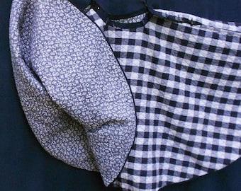 TWIRL SWING SKIRT, Reversible full tilt circle, buttons, quilted, black gray white, vintage retro