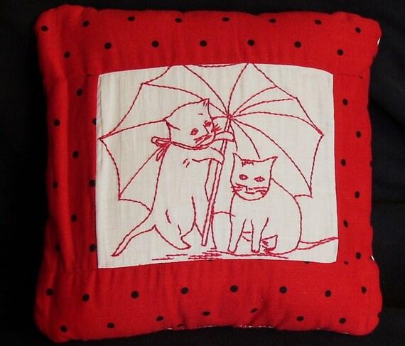 Sweet VINTAGE QUILT PILLOW, Redwork Kitties, Umbrellas, star back,home made, ooak,