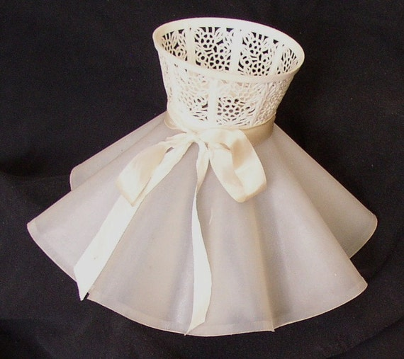 Vintage Retro Lamp Shade Ruffled Plastic Ribbon