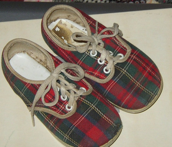 Cute BABY SNEAKERS, Plaid Tennis Shoes, Vintage Children Wear
