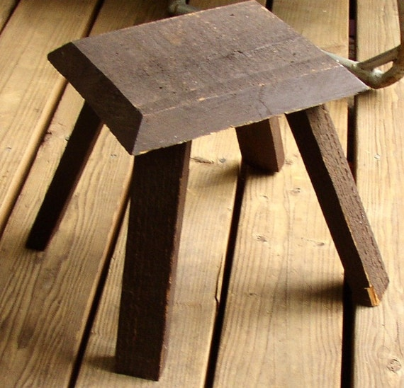 Reduced Price....was 22..Cute Vintage WOODEN FOOTSTOOL, brown, chippy, home made, rustic