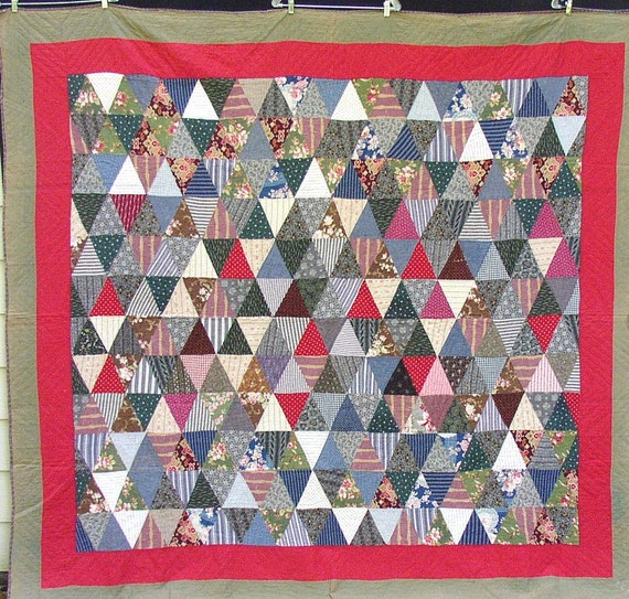 Awesome Vintage PYRAMIDS QUILT, TRIANGLES, 1880 s, graphic, calicos, red, brown, initialed, classic