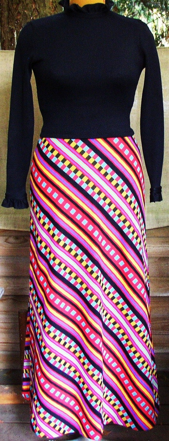 GROOVY PARTY DRESS, Jonathan Logan, psychedelic polyester, mid century, C O L O R