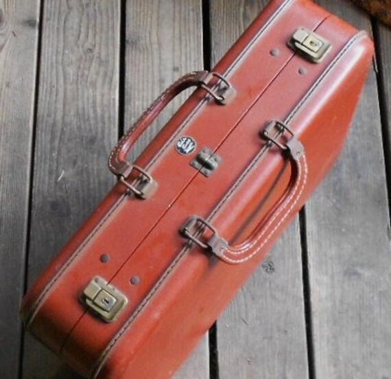 VINTAGE SUITCASE, BRIEFCASE,  Air Ace, cinnamon brown, vinyl,  travel bag, luggage