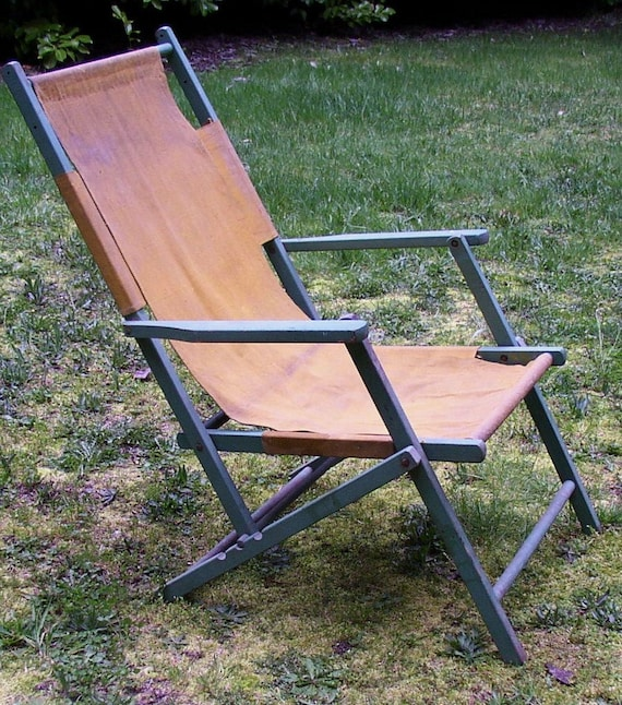 Antique LAWN, BEACH CHAIR, wood, canvas, green, mustard, folding 3 positions, Very Cool