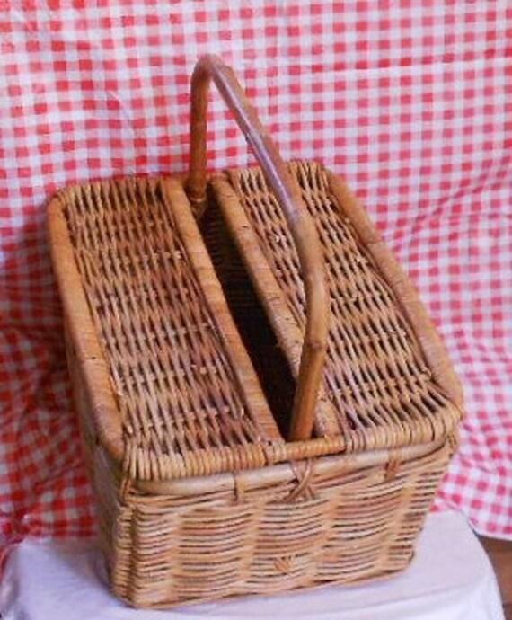 Large WICKER BASKET, Picnic Hamper, BAMBOO handle, slotted top, Market Basket, vintage