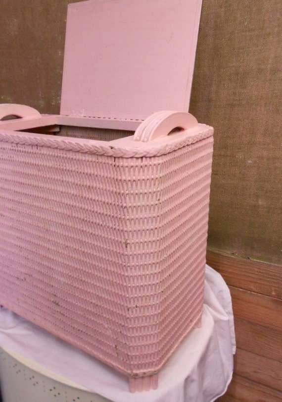 Vintage Wicker Hamper Basket Laundry Storage By
