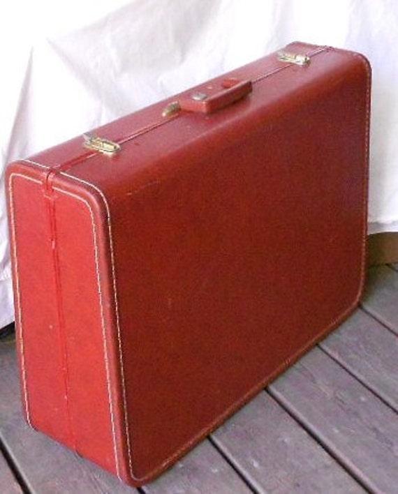 Vintage TAPERLITE SUITCASE LUGGAGE, cinnamon brown, brass trim, Baggage, Travel Bag