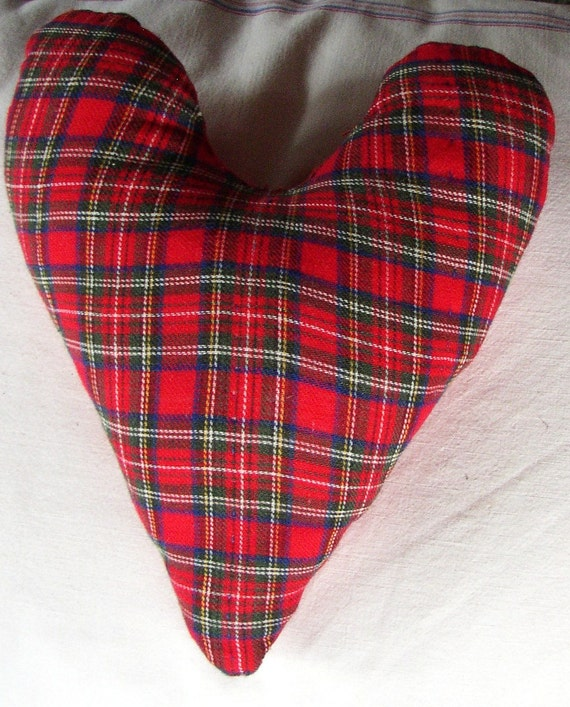 HEART in PLAID PILLOW..vintage red flannel, red quilt, travel trailer decor, throw pillow