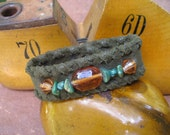 Turquoise and Sunshine Leather Bracelet