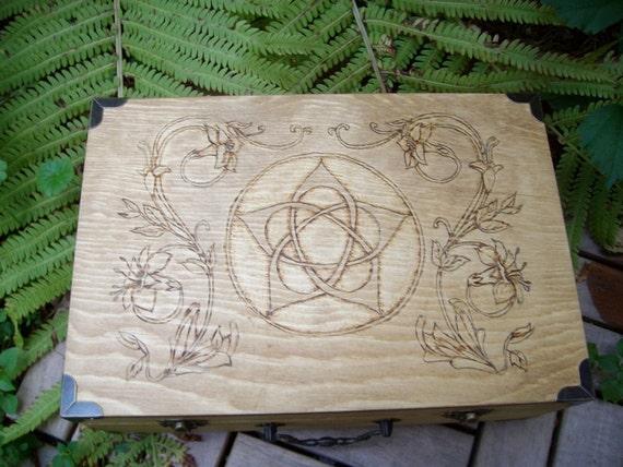 Made to Order Iris and Flower Pentacle Wood Altar Box Medium