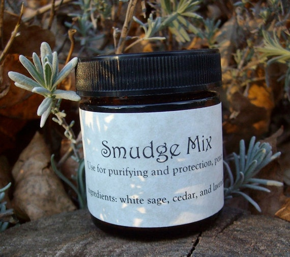 Smudge Mix White Sage, Cedar and Lavender 1.25 ounce Amber Jar