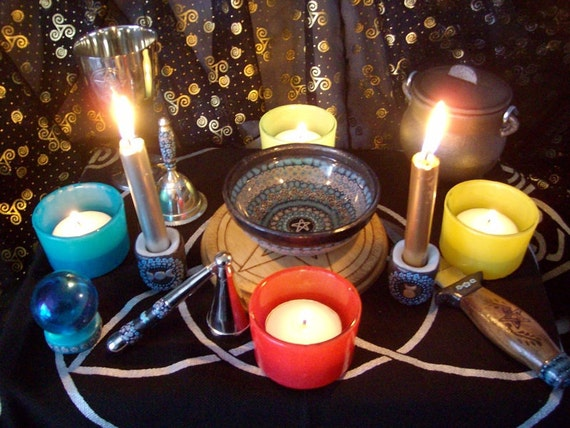 Complete Altar Set with Millefiori Ritual Tools in Teal and Dark Silver