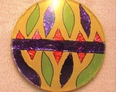 Vintage Art Deco Hand Painted and Foiled Flat Back Round Glass Cabochon OOAK