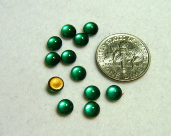 Vintage West German Clear Emerald Green 6mm Round Domed Flat Back Glass Cabochons (12)