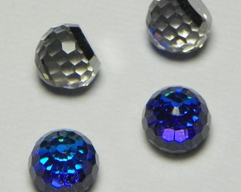 Vintage Swarovski Bermuda Blue Fireball 6, 8, 10 & 12mm Faceted Round Glass Stones (2)