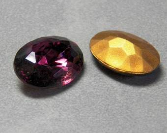 Vintage Amethyst Oval Faceted 18x13mm Glass Jewels (2)