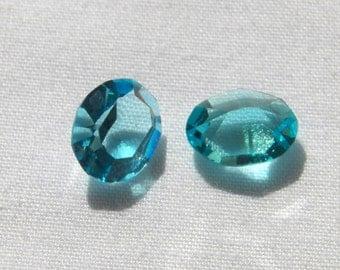 Vintage Swarovski Aquamarine 10x8.5mm Faceted Oval Pointed Back Crystal Jewels (4)