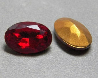 Vintage Siam Oval Faceted 16x11mm Glass Jewels (2)